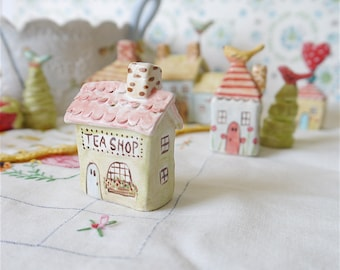 "Miniature Ceramic House, ""TEA SHOP"", Fairy Garden Decor, Lime Green with Honeysuckle Pink Roof, English Country Village Collection"