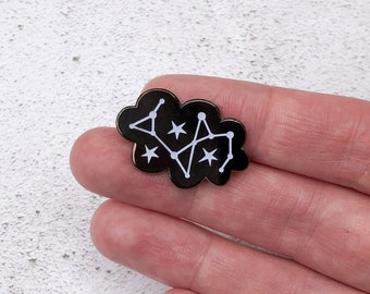 Glow in the Dark Cloud pin, cloud enamel pin, constellation enamel pin, stars lapel pin, astronomy gift, astronomy accessory, hard enamel