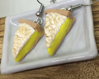 lemon meringue pie polymer clay dangle earrings
