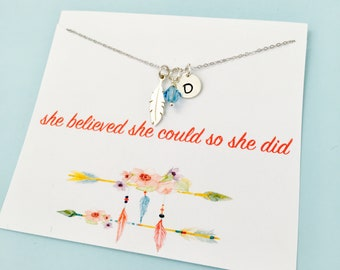 She Believed She Could So She Did Necklace, Graduation Necklace, Sterling Silver Feather Necklace, Personalized Graduation Necklace