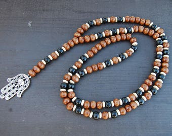 Hamsa Hand Necklace,Hamsa Rosary Necklace,Wood Beads,Judaica Symbols,Man,Woman,Good Luck,Pray,Spirituality,Prayer,Yoga,Protection,Meditation