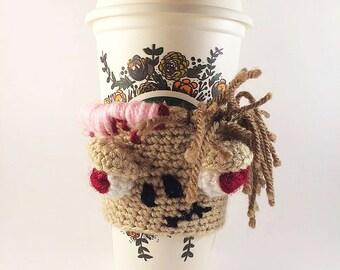 Crochet Wool Zombie Coffee Cozy - Cup Cosy - Zombie Cup Warmer - Monster Cup Cozy - Zombie Coffee Sleeve - Tea Cup Cozy - Reusable Cup Coz