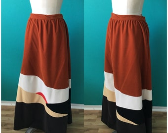Vintage 1970s Vanity Fair Maxi Skirt Burnt Orange Rust Brown Color Block Hippie