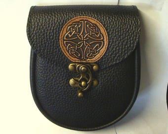 "7"" x 6 "" x 2 1/4"" Black leather Belt Pouch    Medieval sca Larp ren Costume kilt sporran N13"
