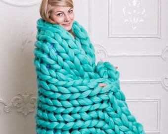 Super Chunky Knit Blanket, Merino Wool Blanket, Chunky knits, Chunky Yarn, Merino Wool, Knitted Blanket, Chunky Knit Blanket