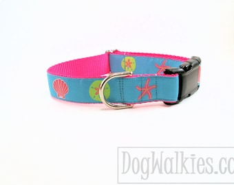 "Ocean Charms Dog Collar - 1"" (25mm) wide - Choice of style and size - Quick Release or Martingale dog collar // Shells // Starfish // Sea"