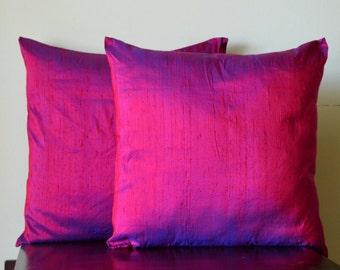 Fuchsia and  blue pure Dupioni silk cushion cover / sham  12X12, 12x16, 12x20, 14x20, 14x24, 16x16, 18x18, 20x20, 22x22, 24x24