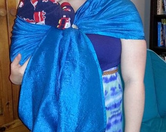 Baby sling, SILK Ring Sling, Teal Brocade, Only One Made, Wrap length  2 shouldered carries, SALE