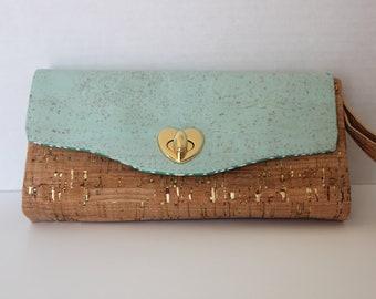 Vegan Wallet, Women's Wallet, Cork Clutch Wallet, Gift for Her, Handmade Accordion Wallet, Seafoam Green, Natural Cork, Gold Heart Bag Lock