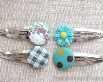 SUMMER SALE - Hair Accessories, Handmade Hair Snap Clips - Mixed Fabric Buttons Resin Flowers, Mint Teal Colorway Set (1 Pack, 4 in a set)