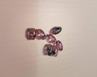 Fancy grain of rice pearls pink 6mm