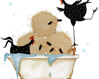 Farmhouse Debi Hubbs Folk Art Print Laundry Bathtub Bathroom Decor Sheep Chickens Farm