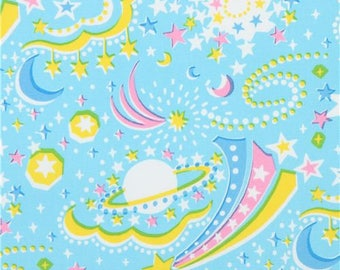 218557 blue with star planet oxford fabric by Kokka