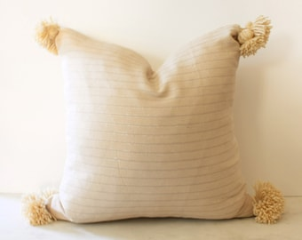 Natural Linen Striped Pillow with Pom Poms