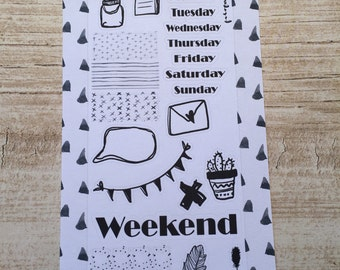 Black & White Weekly Planner Sets Personal