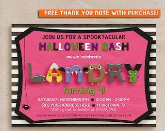 HALLOWEEN Birthday Party Invitation, Kids Halloween Party Invitation, HALLOWEEN INVITATION