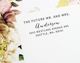 Self Inking Address Stamp, Future Mr and Mrs, Wedding Stamp, Return Address Stamp, Custom Stamp, Save the Date Stamp, Mr and Mrs - Style #76