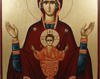 Virgin of The Inexhaustible Cup Theotokos Virgin Mary Mother of God Hand-Painted Byzantine Orthodox Icon on Wood 40 x 30cm