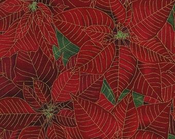 Metallic Poinsettia Fabric, Timeless Treasures Tis The Season, Holiday CM3091 Red Poinsettias, Chong-a Hwang, Cotton Christmas Quilt Fabric