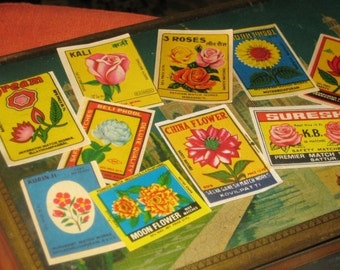 Ten Assorted Vintage Indian Matchbox Labels Flower Themed