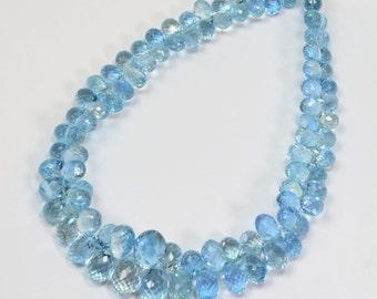 Gem Santa Maria Aquamarine Faceted Teardrop Briolette Bead 8.2 inch strand