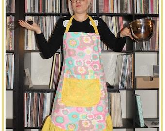 In Bloom full bib, handmade apron with ruffle details