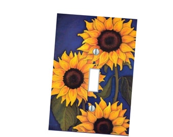 Sunflower Kitchen floral Light Switch Plate Cover bedroom bathroom wall art whimsical nursery