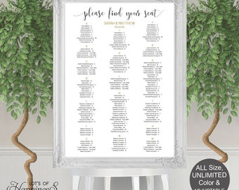 Seating chart template, Wedding seating chart, Printable, poster, seating plan, seating assignment, DIY, wedding decorations, DS11