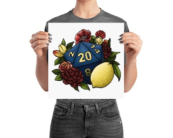 Marsala D20 Poster - Assorted Sizes - D&D Tabletop Gaming