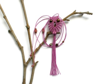 Lilac Macrame Owl Necklace
