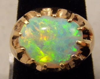 Australian Free Form Opal Ring, 14k Yellow Gold, Crystal Opal with Green and Yellow Flash, Approx. Weight 3.5 carats, October Birthstone