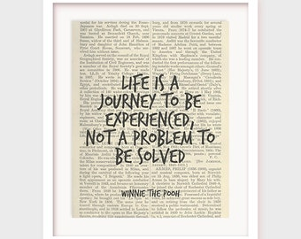Winnie The Pooh Quote, Life is a Journey To Be Experienced, Not a Problem To Be Solved, Life Wisdom Quote, Printable Art Decor, Download