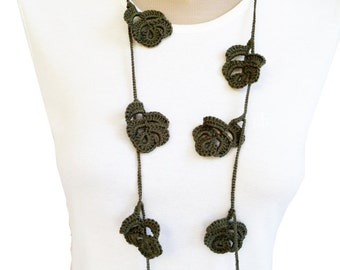 PDF Tutorial  Pattern... Crochet Scarf, Lariat  Necklace -4