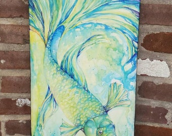 Original Beta Fish Watercolor Painting on Canvas