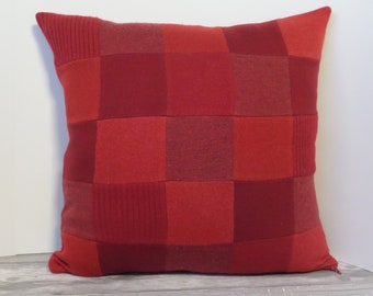 "Recycled wool sweater slipcover for 18"" cushion -- cardinal red"
