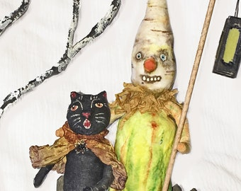 Spun Cotton Halloween Trick or Treat Black Cat and Veggie Man OOAK Folk Art - EHAG