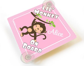 Personalized lil' monkey on board vehicle car sign - white and pink polka dots -  CD95C