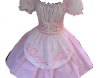 Little Bo Peep Mary Had a Little Lamb Pink & White Dress Halloween Costume Womens Adult Girls Custom Size including Plus Sizes