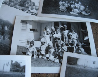 Vintage Photos, 11 black and White 1940s 1950s Photos, Front Yard Antics and Birthday Parties