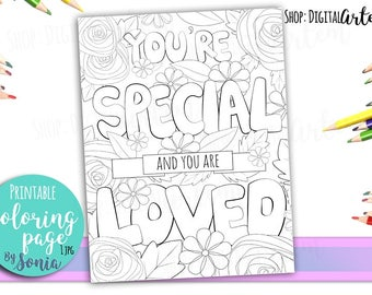 Coloring Page - Positive quote - Flowers colouring page - Love coloring page - Coloring Pages for Adults -Instant Download - Printable