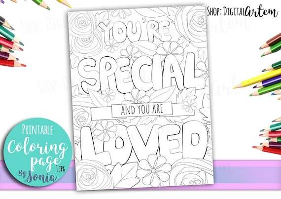 Coloring Page Positive Quote Flowers Colouring Love