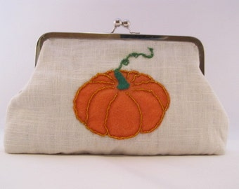 Pumpkin Clutch Purse-Purse-Handbag-Kisslock-8 inch