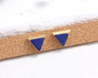 Lapis Lazuli Triangle Stud Earrings