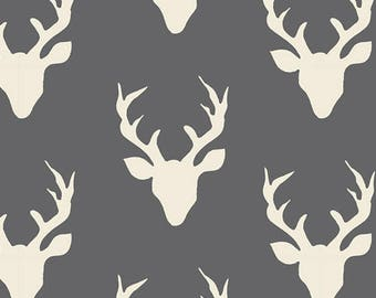 KNIT FABRIC Art Gallery AGF Buck Forest Moonstone /Deer Gray/Antlers/Deer/Gray