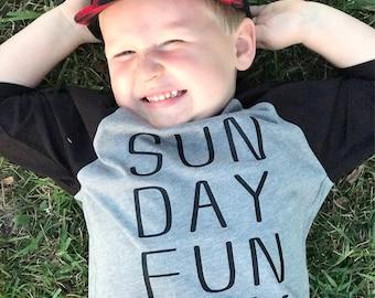 Kids Sunday Fun Day grey and black 3/4 Sleeves Raglan T-shirt infant toddler