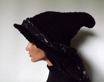 Witch Hat Crochet- The Craft Keeper-  Witch Hat With Spider Scarf Sash Halloween Yule Fashion
