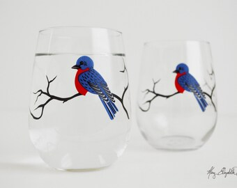 Bluebird Stemless Wine Glasses - Set of 2 Stemless Bluebird Glasses - Bluebirds, Blue Bird Glasses, Bluebird Wine Glasses, Blue Birds