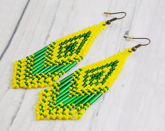 Unique gift ideas for mom gift statement jewelry yellow earrings beach jewelry bright yellow jewelry handmade jewelry festival jewelry trend
