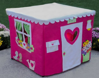 Kids Play Tent Card Table Playhouse, Teepee, Tablecloth Playhouse, Double Delight, Personalized, Custom Order