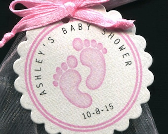 Personalized Baby Girl Baby Shower Favor Tags featuring pink baby feet, set of 50